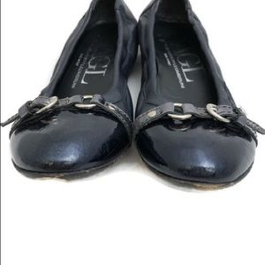 Agl Shoes - AGL Navy Blue Leather Slip On Buckle ballet flats